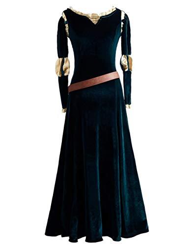 Xiao Maomi Merida Cosplay Costume Princess Long Dress Wig for Women Halloween Outfit (M, Long Dress) ()