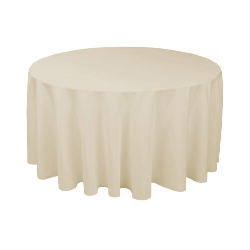 LinenTablecloth 120-Inch Round Polyester Tablecloth Silver (Table Cloth Linen Silver)