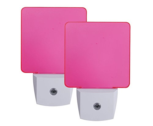 Pink Night Light, Plug in LED Night Light with Dusk to Dawn Sensor, 2 Pieces