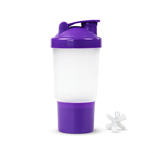 Protein / Vitamin - Shaker Mixing Bottle w/dry Storage Compartment - 16oz. Capacity - Purple