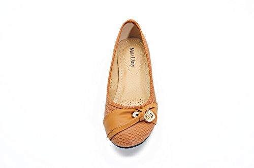 Mila Lady Womens Ballet Flat Shoes, Snakeskin (AVA 1) Camel