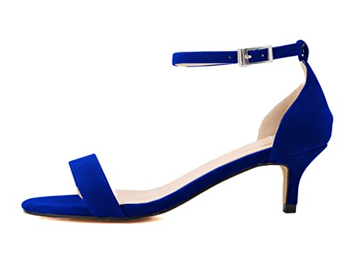 CAMSSOO Women's Open Toe Low Heel Ankle Strap Buckle Pumps Sandals VE-Blue aIOMqgjOhg