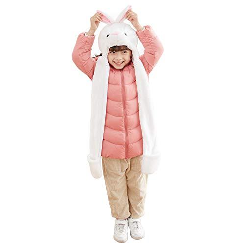 PULAMA Varied Animal Hats Gloves Scarf 3In1 Set -Costume Hood Toy (White Rabbit)]()