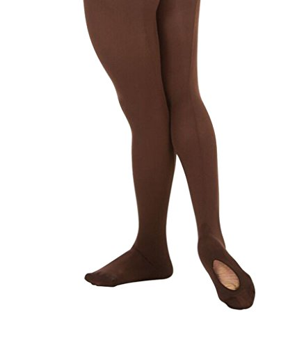 Body Wrappers Angelo Luzio Youth Girls Convertible Mesh Backseam Tights-Espresso-8/10 from Body Wrappers