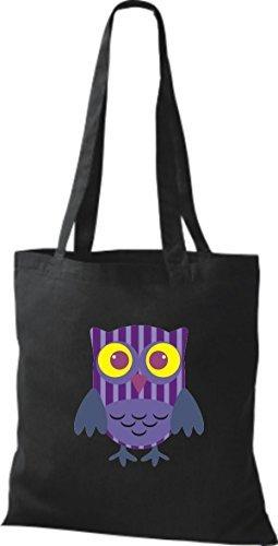 Striped Shirtinstyle Owl Pretty Colorful Retro Various With Owl Color Jute Black Bag Handbag Dots Boxes pfxrqpX