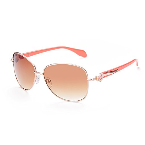 Naivo Women's YJMH088-2 Tone Classic Aviator Design Sunglasses, - Coral Sunglasses