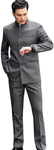 メンズツーピーススーツシングルブレストスタンドラペルタキシードジャケットパンツ