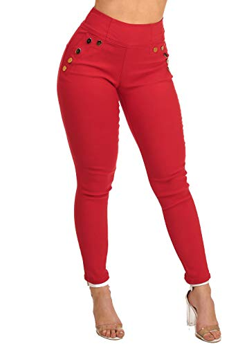 Women's Junior Stylish High Waisted Above The Waist Back Zipper Front Gold Button Detail Red Jegging Skinny Jeans 10659V ()