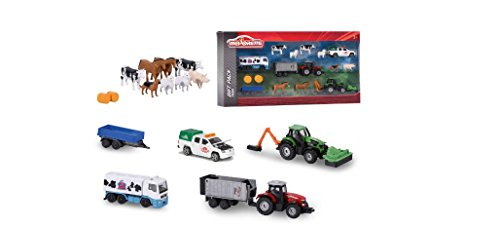 Majorette 1:64 Scale Farm Die-Cast 16 Piece Playset,Features Four Typical Farmyard Vehicles with Trailers,Eight Farm Animals and Two Bales of Straw,Perfect Gift for Kids