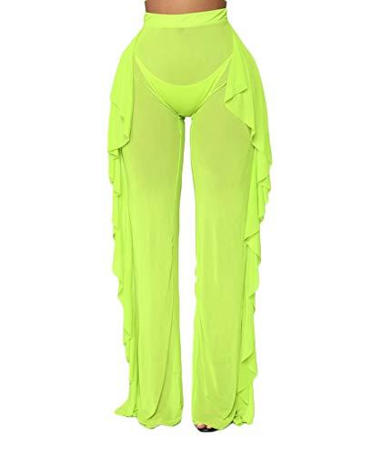 Sheer Womens Bikini - Yoawdats Women Sexy Perspective Mesh Sheer Swim Shorts Pants Bikini Bottom Cover up Ruffle Clubwear Pants (Green, XXL)