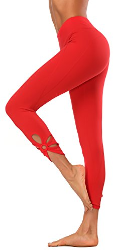 X-Fit Sports Women Cutout Crop Leggings Capri Workout Tights Active Yoga Pants (Cutout Crop Red, L) (Out Cut Out)