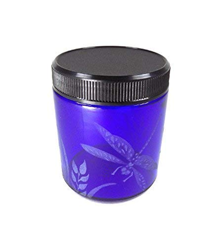 IncisoArt Hand Etched Decorative Jar Permanently Sandblasted (Sand Carved) Glass Handmade Custom Canister Screw-Top Lid (4 Ounce, Cobalt Blue Dragonfly Grass)
