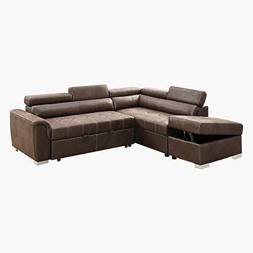 Benzara BM166710 Breathable Leatherette 2 Piece Sectional Convertible Sofa Brown