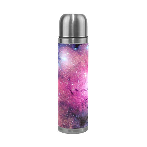 Water Bottle Pink Space Galaxy Travel Insulated Stainless Steel Water Bottles Leak Proof Double Wall Thermos Leather Cover 17Oz 500ml