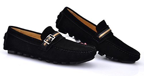 CRC Mens Fashion Casual Comfort Slip On High Quality Suede Leather Walking Driving Boat Shoes Black QTb5Q9WB