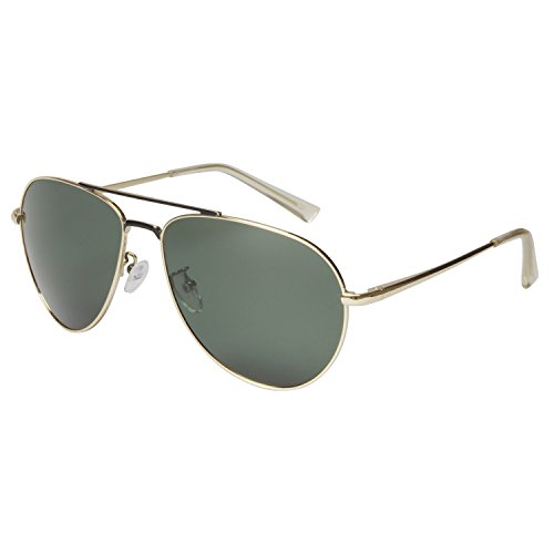 Aoron Aviator Polarized Sunglasses with 1.1mm Thick TAC Lens GD2560 (Green plain lens (1.1mm TAC - Aoron Sunglasses