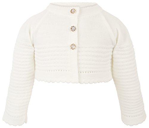 Lilax Baby Girls' Knit Long Sleeve Button Closure Wavy Bolero Cardigan Shrug 9-12 Months (Ivory Cream Button)