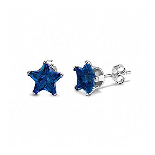 Stud Post Earrings Star Shape Simulated Deep Blue Sapphire 925 Sterling Silver ()