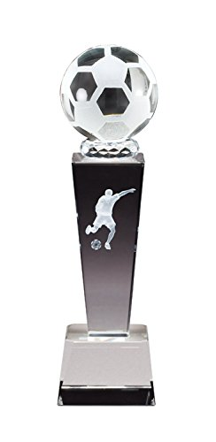 Male Soccer Optical Crystal Trophy Figure Laser Engraved Inside
