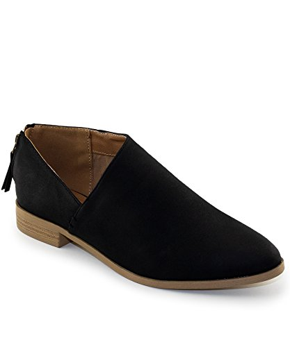 RF ROOM OF FASHION Side Cutout Distressed Nubuck Almond Toe Loafer Flat - Vegan Low Heel Ankle Booties Black (6.5)