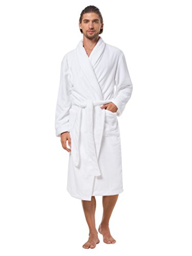 SIORO Bathrobe Men's Soft Fleece Robe Long Sleeves Robes Wearing Around Sleepwear with Pockets Water Absorbent Shower Spa Pajama Gown Soft Housecoat Solid White (Mens Microfleece Long Sleeve)
