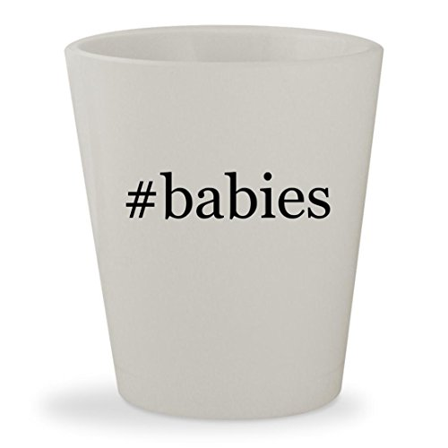 #babies - White Hashtag Ceramic 1.5oz Shot Glass (Cloth Game Diaper Video)