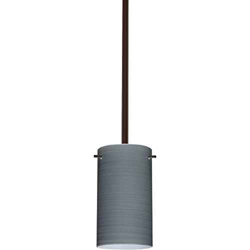 4404tn Led - Besa Lighting 1TT-4404TN-LED-BR 1X6W Gu24 LED Stilo 7 1Tt Pendant with Titan Glass, Bronze Finish