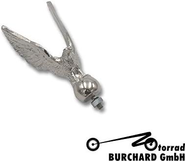 Motorrad Ornament//Figur f/ür z.B Schutzbleche Standing Hawk 9 cm hoch Chrom