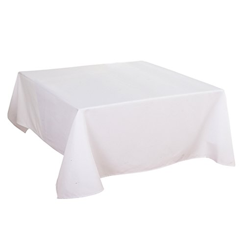 Tablecloth 52 X 52 Inch Waterproof White Tablecloth for Home Kitchen Dining Room ()