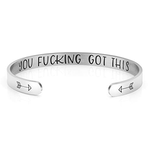 Jovivi Cuff Bracelet Bangle Engraved Motivational Friend Encouragement Stainless Steel Inspirational Jewelry Gift for Women Men with Secret Message Hidden w/Gift Box (You got This)