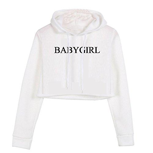 YITAN Women's Long Sleeve Crop Top Sweatshirt Hoodies with Cap White (Black White Hoodie)