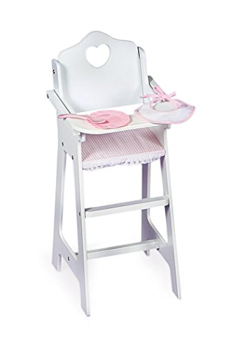 Badger Basket White Doll High Chair with Plate, Bib, and Spoon (fits American Girl dolls)
