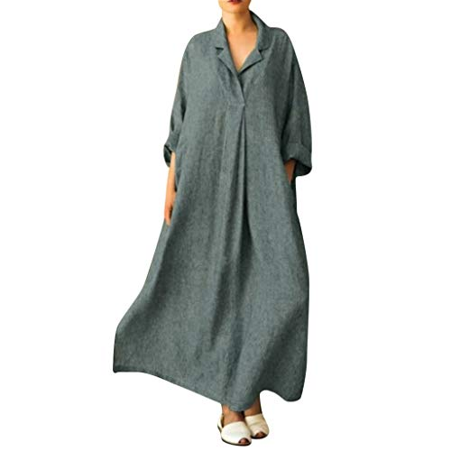 Gergeos Cotton Linen Dress for Women Plus Size Long Sleeve Solid Turn-Down Collar Loose Maxi Dress Shirt Dress(Gray,XXX-Large) ()