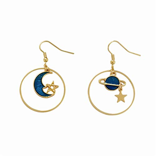 Eightgo Enamel Moon Star Earth Planet Drop Hook Earrings Long Pendant Dangle Jewelry for Woman - Earrings Hook Silhouette