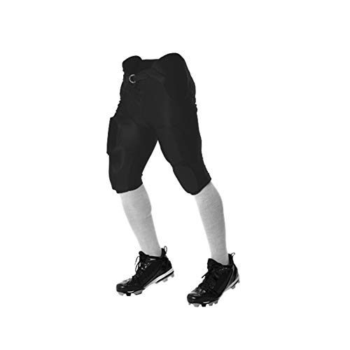 Alleson Athletic Adult Solo Series Integrated Football Pant, Black, X-Large