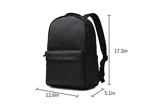 Travel Rucksack Backpack Laptop Business Backpack for Men Women Black Canvas Travel Lightweight College Backpack School Bag fits 15.6 16 Inch Laptop(Black)