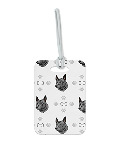 "Price comparison product image Dutch Shepherd Dog Bones Paws Luggage Tag Finder Brief Case - size 1.75"" x 3.5"""