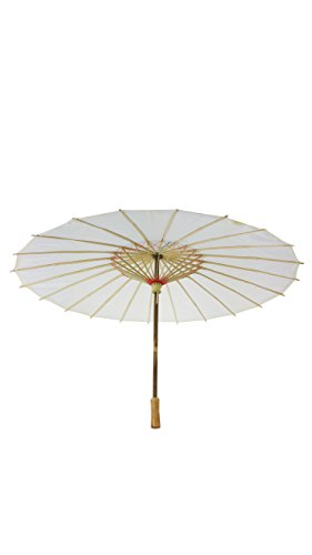 32 Inch Paper Like Parasol Umbrella - For Weddings, Bridal Showers, and Photo Shoots (White) (Paper Parasol Umbrella)