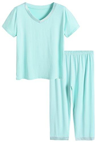 Latuza Women's Sleepwear Tops with Capri Pants Pajama Sets M Green