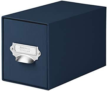 Rössler SOHO CD Storage Box with Metal Index Holder - Navy Blue