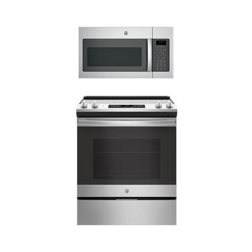 GE 2-Piece Stainless Steel Kitchen Package with 30″ Slide In Range and Over the Range Microwave Hood