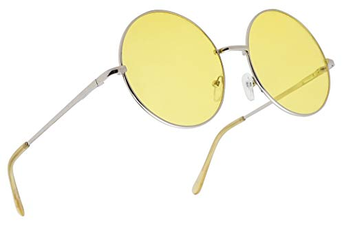 Sunglass Stop - Extra Large Round Over Sized Yellow HD Night Driving Aviator Sunglasses (Silver, Yellow) ()