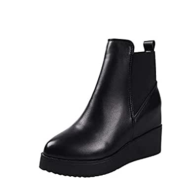 Amazon.com | HOESCZS Boots Women's Wedges Fall and Winter