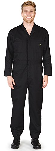 NATURAL WORKWEAR - Mens Long Sleeve Basic Blended Coverall, Black 38880-X-Large ()