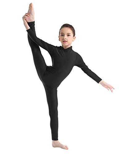 iEFiEL Kids Boys Girls' Long Sleeves Full Length Gymnastics Dance Leotard Bodysuit Jumpsuit Unitard Dance wear Costumes Black Mock Neck 3-4