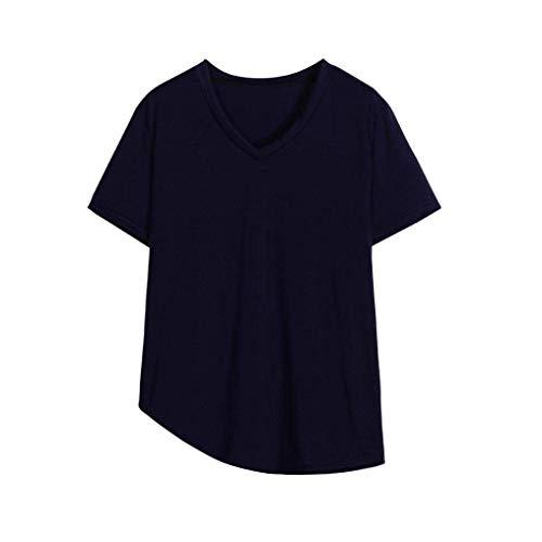 T en femmes 22 bleu V couleur avec encolure taille marine shirt courtes manches irrégulière violet pour à Zhrui RzHdRq