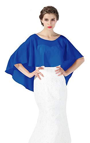 Bridal Capelet Chiffon Cape Shawls High-Low Short Tops For Women Wedding Dresses Azure Blue