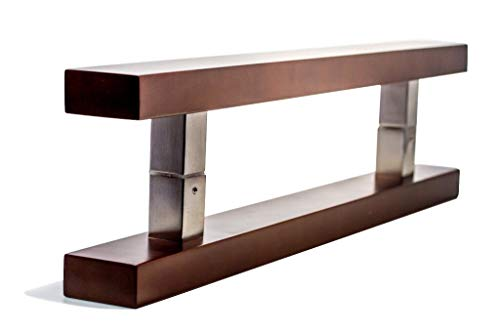 Finish Bar Bronze Mahogany (24 Inch Square Rectangle Flat Shape Stainless Steel Modern Contemporary Entry Door Handle Bar Ladder Pull Shower Glass Sliding Barn Door Interior Exterior Door Pull Push Dark Mahogany Wood Finish)