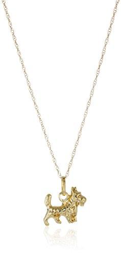 14k Yellow Gold Dog Pendant Necklace, 18
