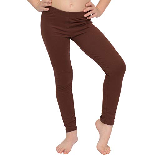 Stretch is Comfort Girl's Cotton Footless Leggings Brown X Large